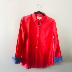 Women's Banana Republic Coral Oxford Shirt-Sz S